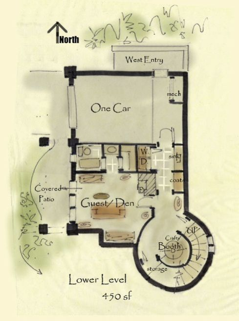 Storybook Cottage House Plans Lower Level