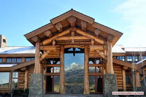 Standout log homes plans a majestic mountain home for Cottage house plans with porte cochere