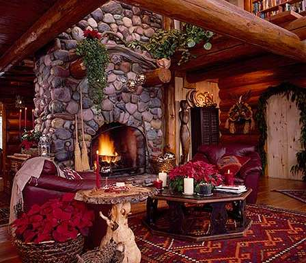 cozy cabin fireplace christmas decorating fireplace - Cabin Christmas Decor