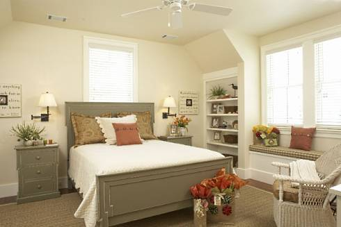 Bedroom on The Second Upper Level Bedroom Also Features Country Cottage Decor  In