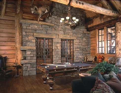 Another view of the library/billiard room shows the built-in gun