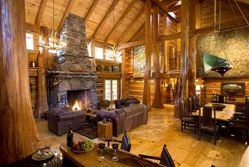 Another view of the Great Room shows the soaring stone fireplace, as