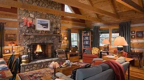 Homes home floor plans cabins golden eagle homes million for Cabin fireplace pictures