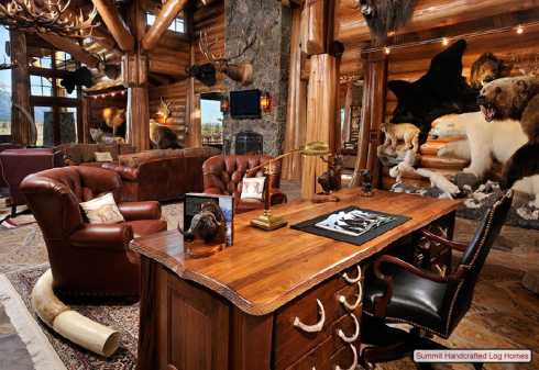 home office cabin. Log Home Decorating Office Cabin