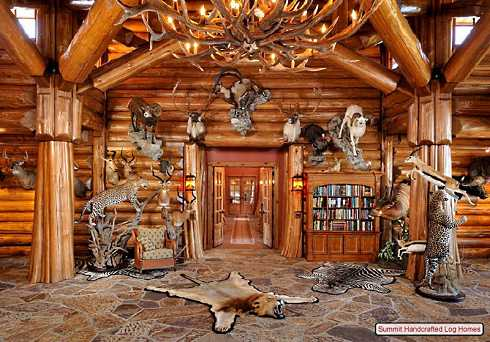 Home Decorating Accessories on Animal Mounts Is The Focus Of The Log Home Decorating In This Room