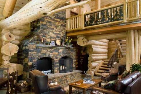 The log home fireplaces featured here showcase a stunning array of monumental stone hearths that are as bold and breathtaking as the mountains around them!
