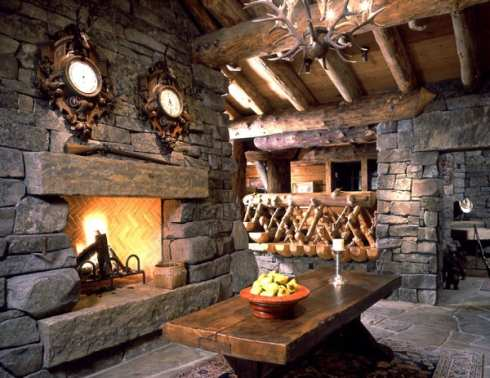 log home fireplaces