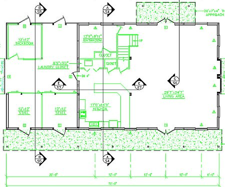 Pole barn floor plans with living space joy studio for Pole barn house plans
