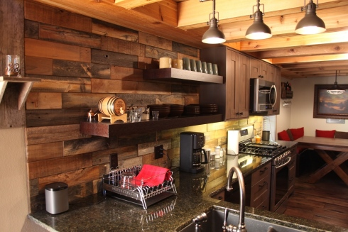 reclaimed wood tile backsplash