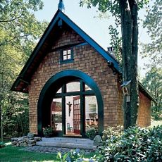 Standout small cabins a smorgasbord of styles for Arched cabin floor plans