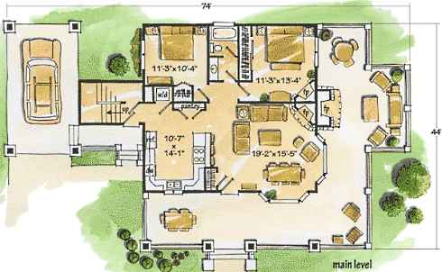 Modern Home Design Plans on Design Small Living Room On Small Cottage House Plans Small In Size