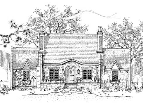 Cozy wood clapboard shingle stone cottage house plans Storybook cottages floor plans