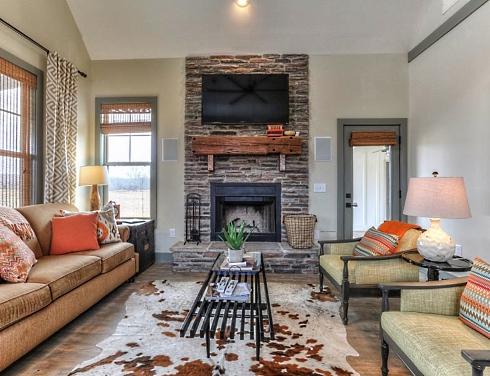 fishing cabin fireplace