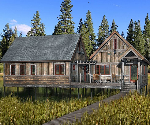 Fishing cabin plans sliding walls and soaring ceilings for Fishing cabin plans