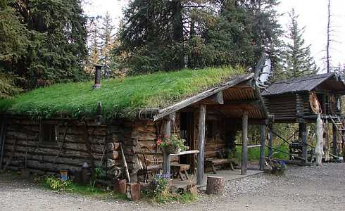 Green roof design for small cabins ahead of its time for Alaska log home plans