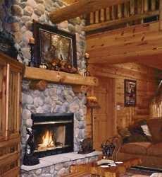 log cabin fireplace