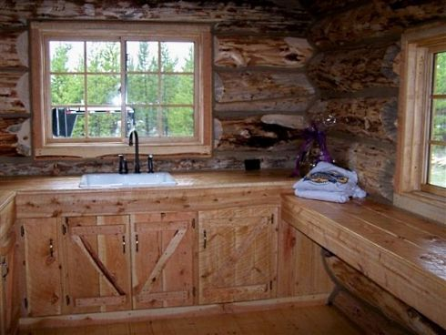 Log cabin style mobile homes well rounded walls on for Cabin style kitchen cabinets